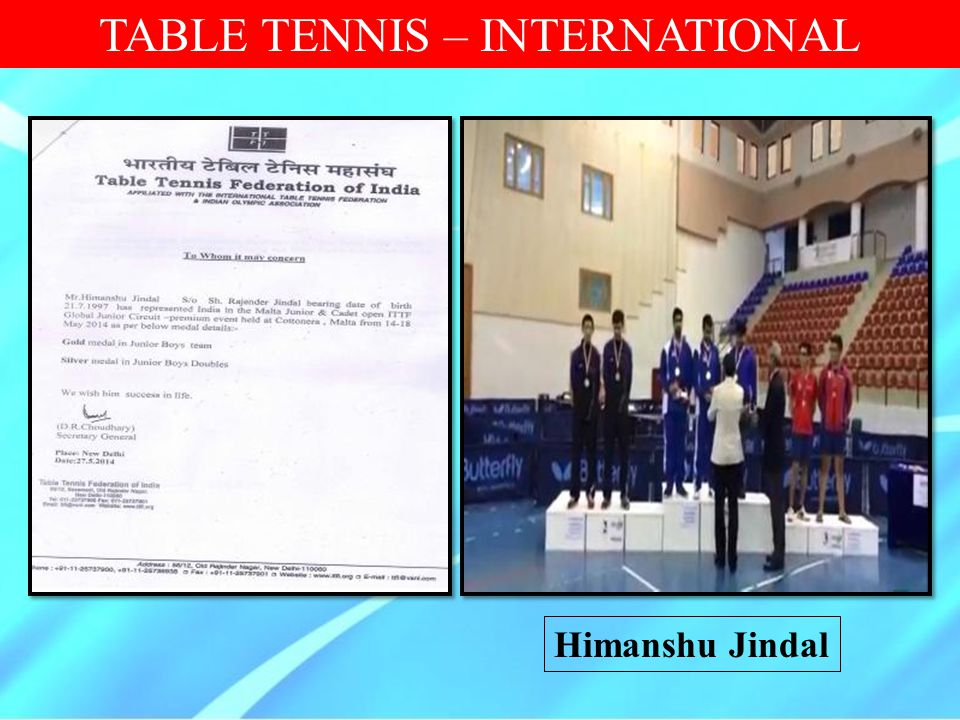 TABLE TENNIS – INTERNATIONAL