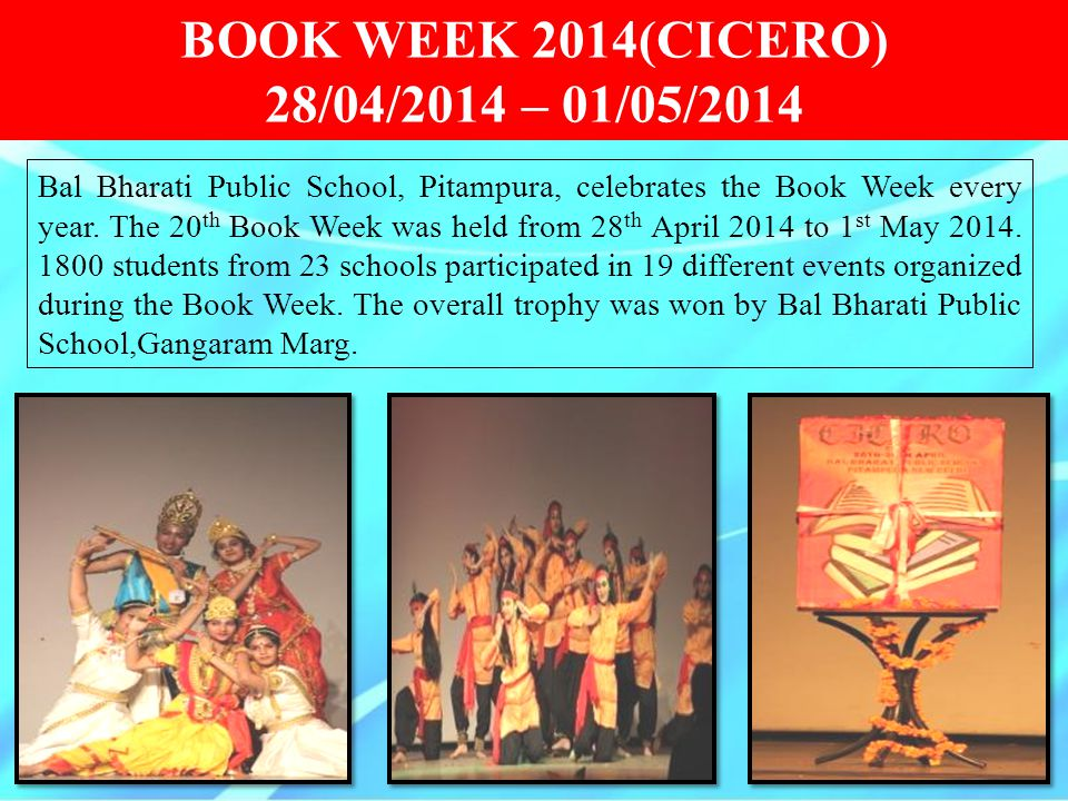 BOOK WEEK 2014(CICERO) 28/04/2014 – 01/05/2014