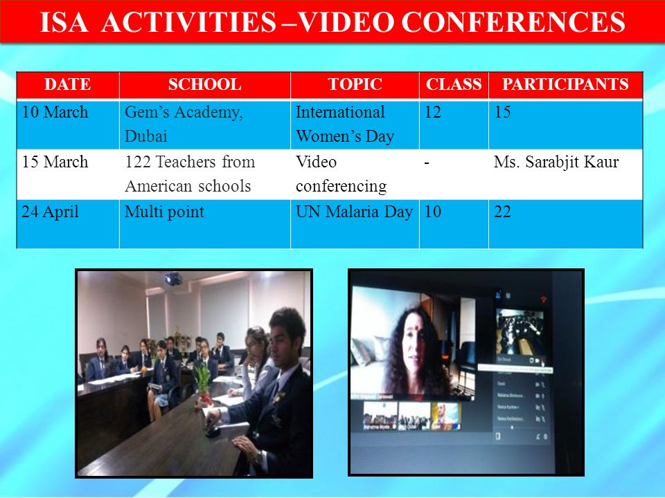 ISA ACTIVITIES –VIDEO CONFERENCES
