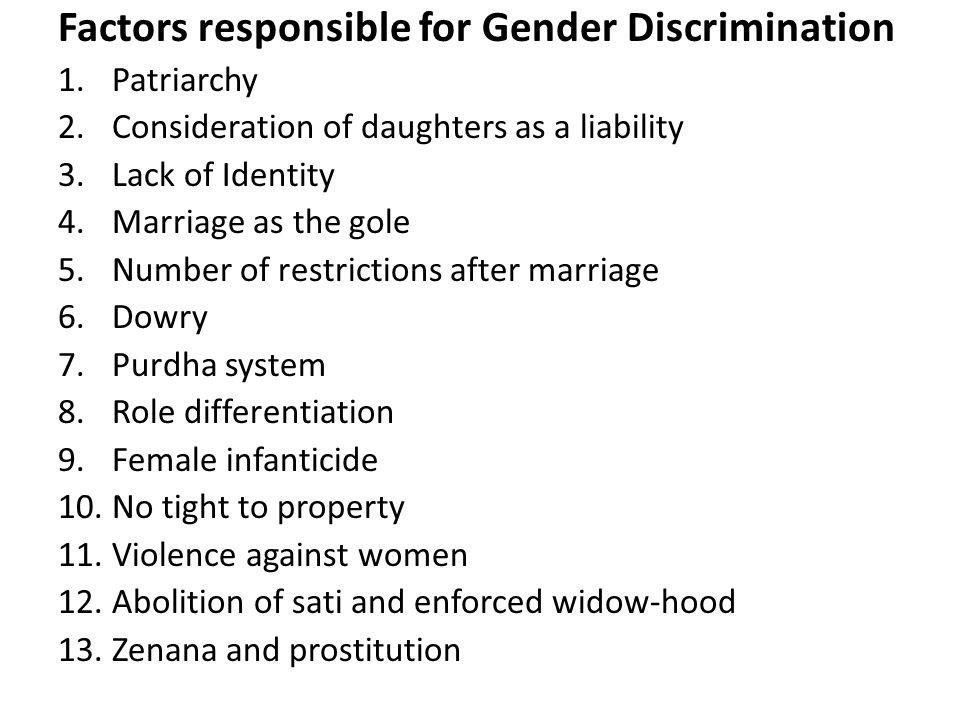 Factors responsible for Gender Discrimination