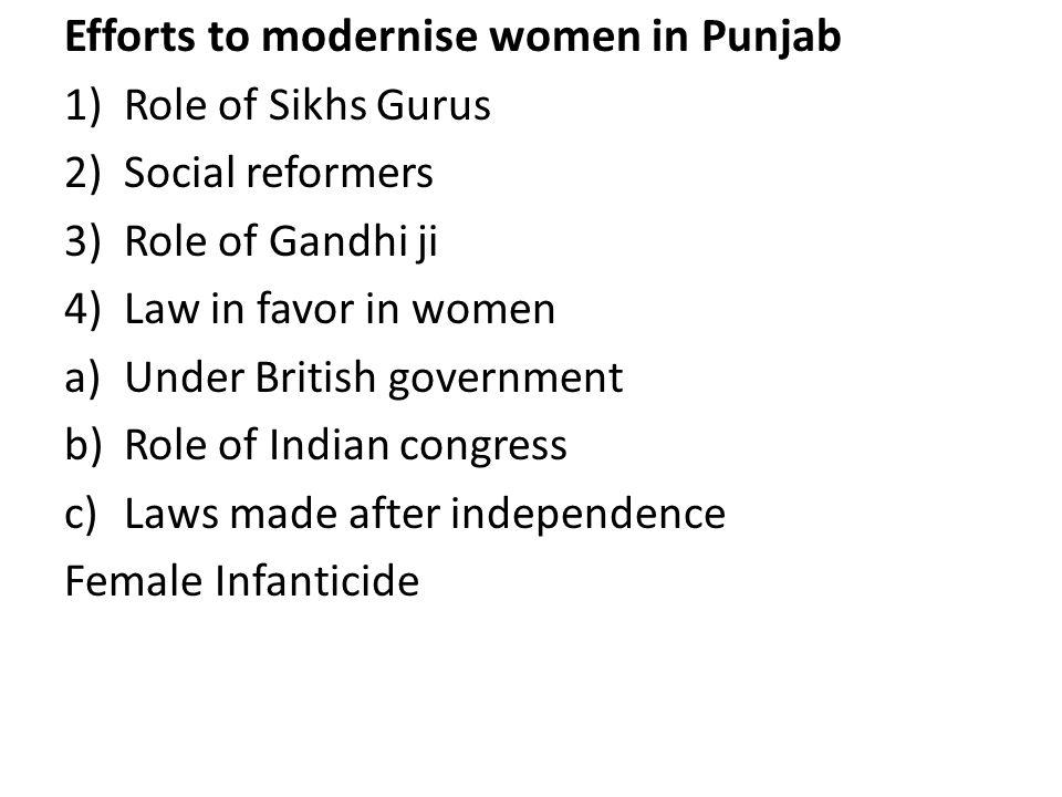 Efforts to modernise women in Punjab
