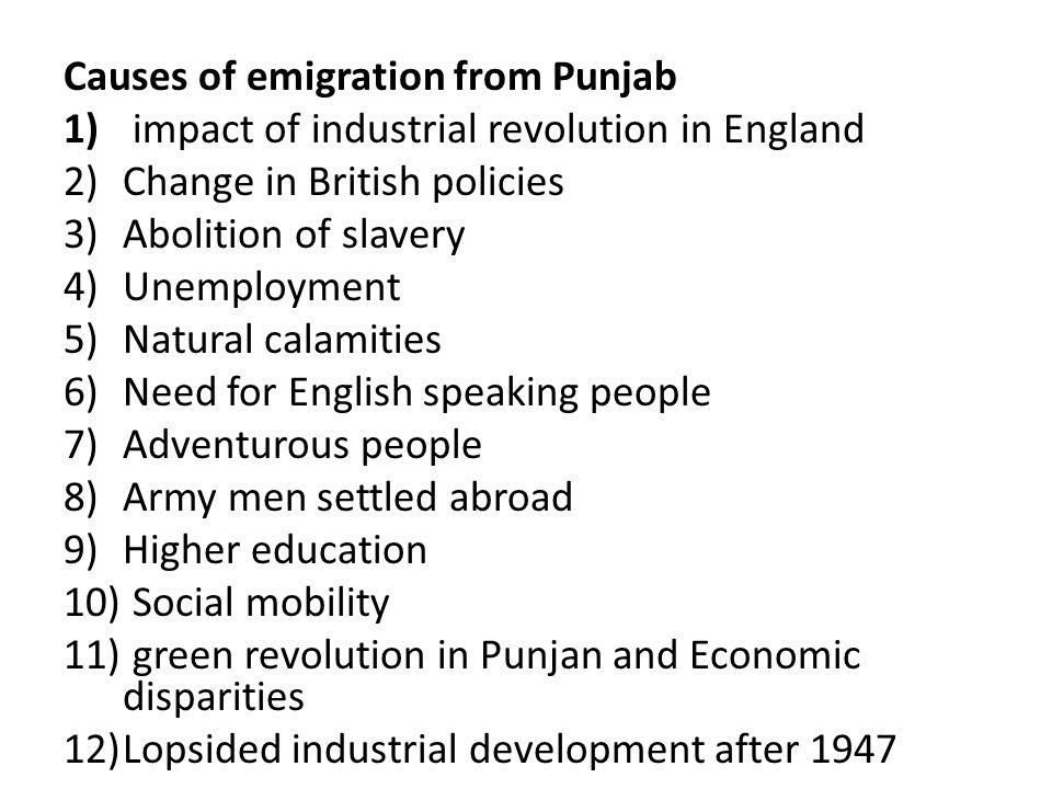 Causes of emigration from Punjab