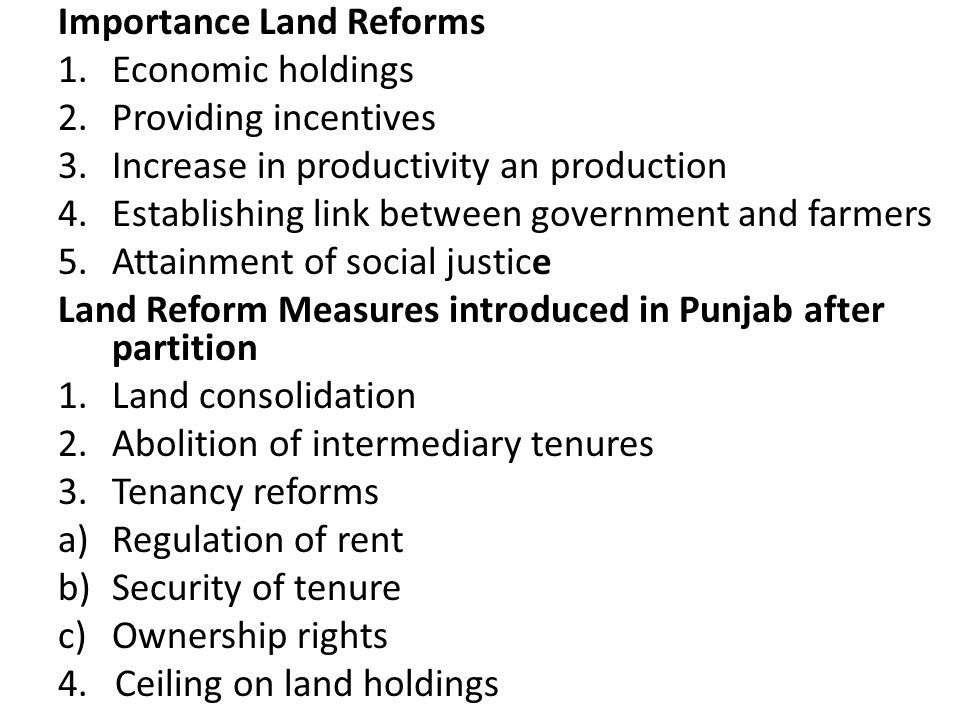Importance Land Reforms