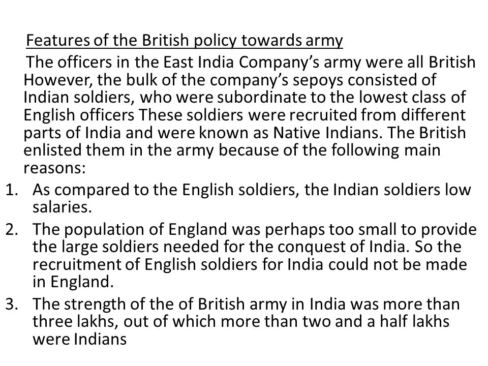 Features of the British policy towards army