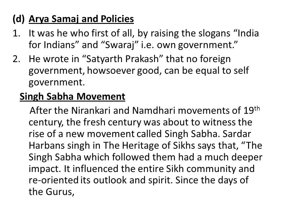 Arya Samaj and Policies