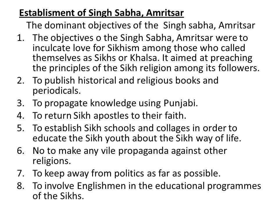 Establisment of Singh Sabha, Amritsar