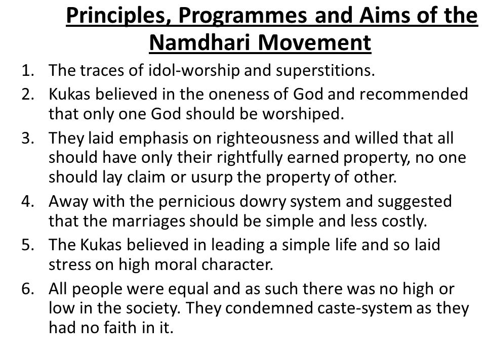 Principles, Programmes and Aims of the Namdhari Movement