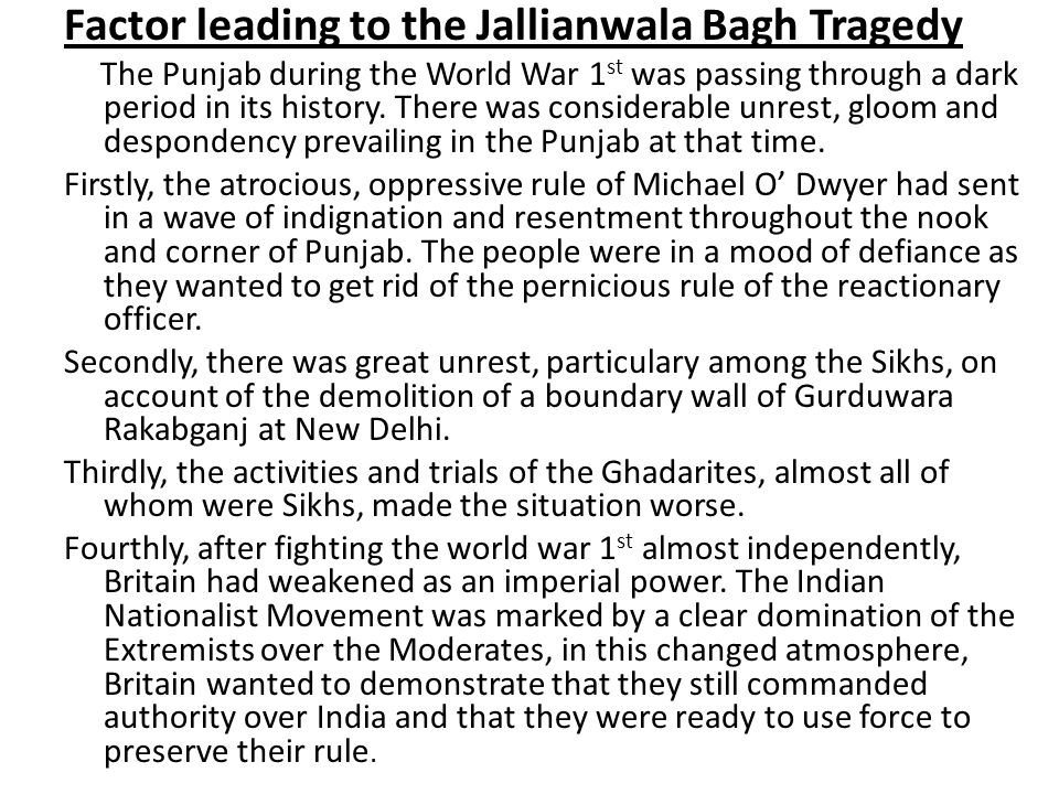 Factor leading to the Jallianwala Bagh Tragedy