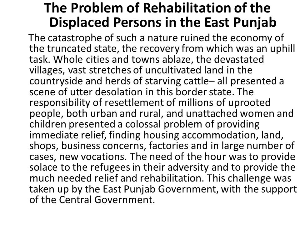 The Problem of Rehabilitation of the Displaced Persons in the East Punjab