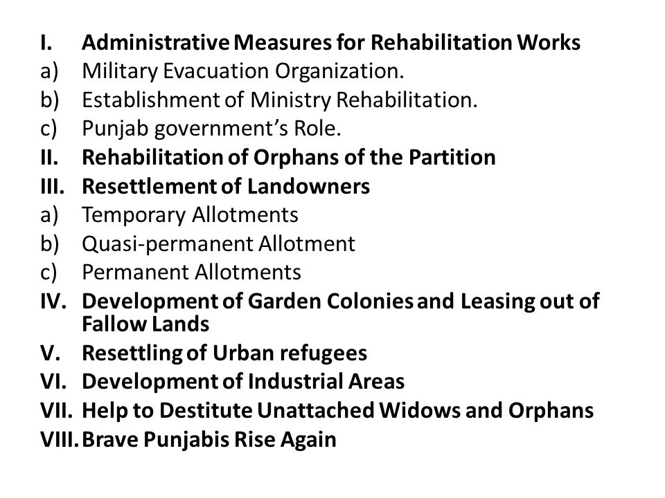 Administrative Measures for Rehabilitation Works