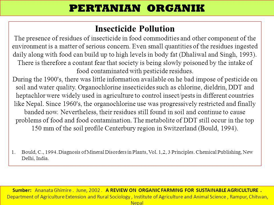 Insecticide Pollution