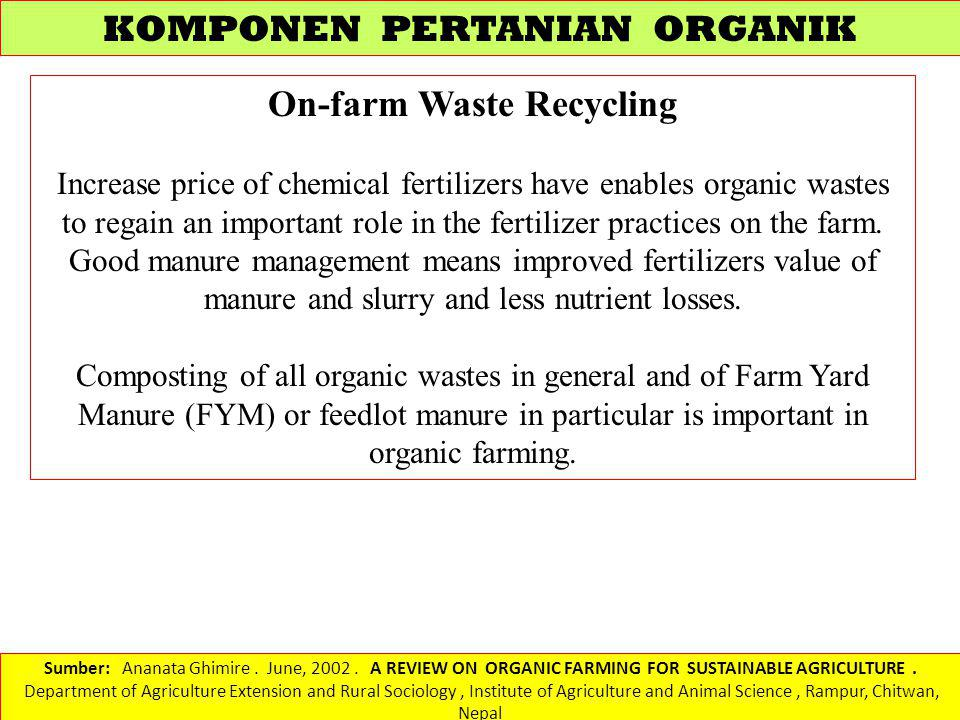 On-farm Waste Recycling
