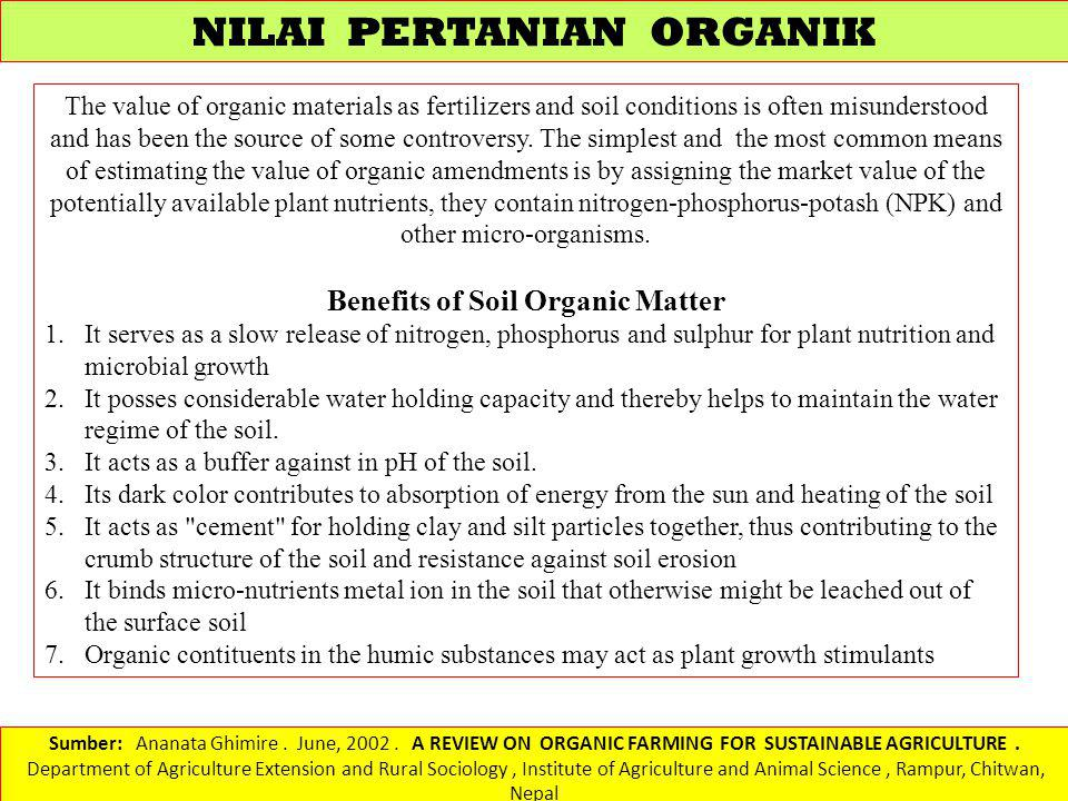 Benefits of Soil Organic Matter
