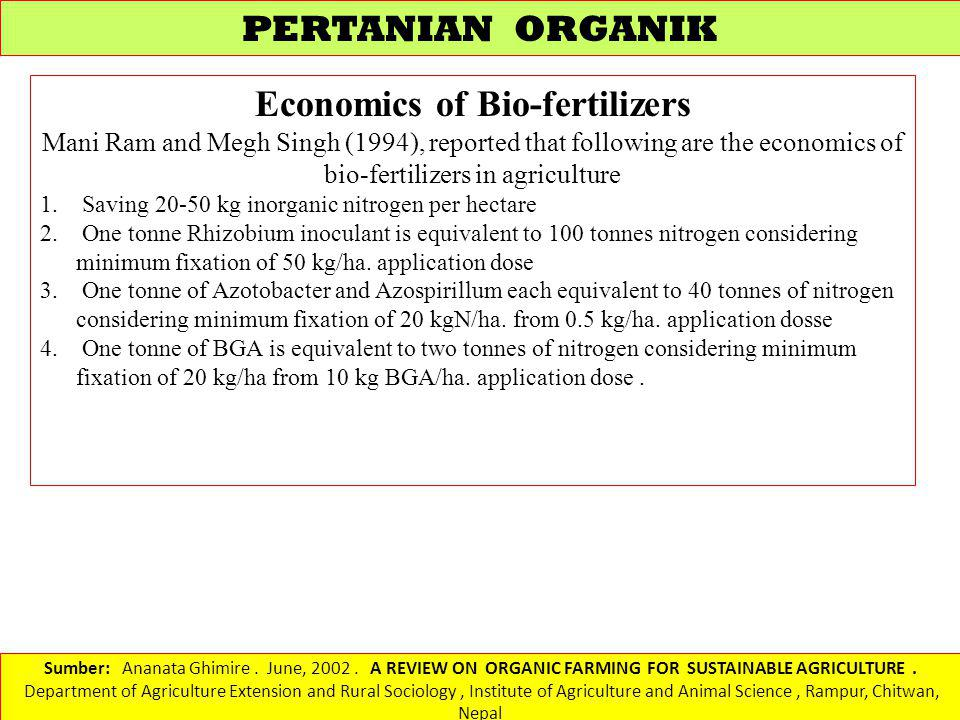 Economics of Bio-fertilizers