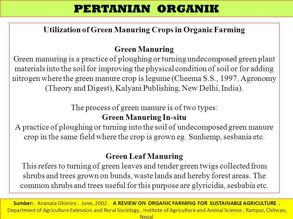 PERTANIAN ORGANIK Utilization of Green Manuring Crops in Organic Farming. Green Manuring.