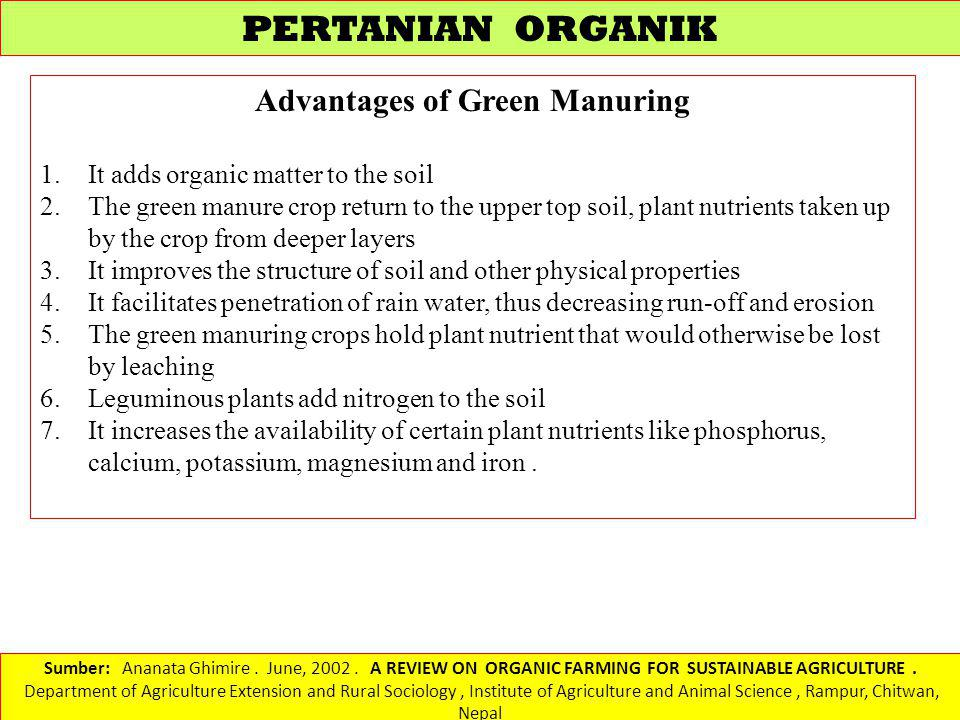Advantages of Green Manuring