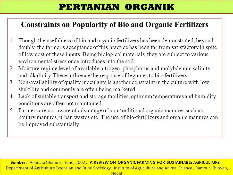 Constraints on Popularity of Bio and Organic Fertilizers