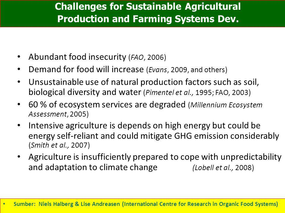 Challenges for Sustainable Agricultural