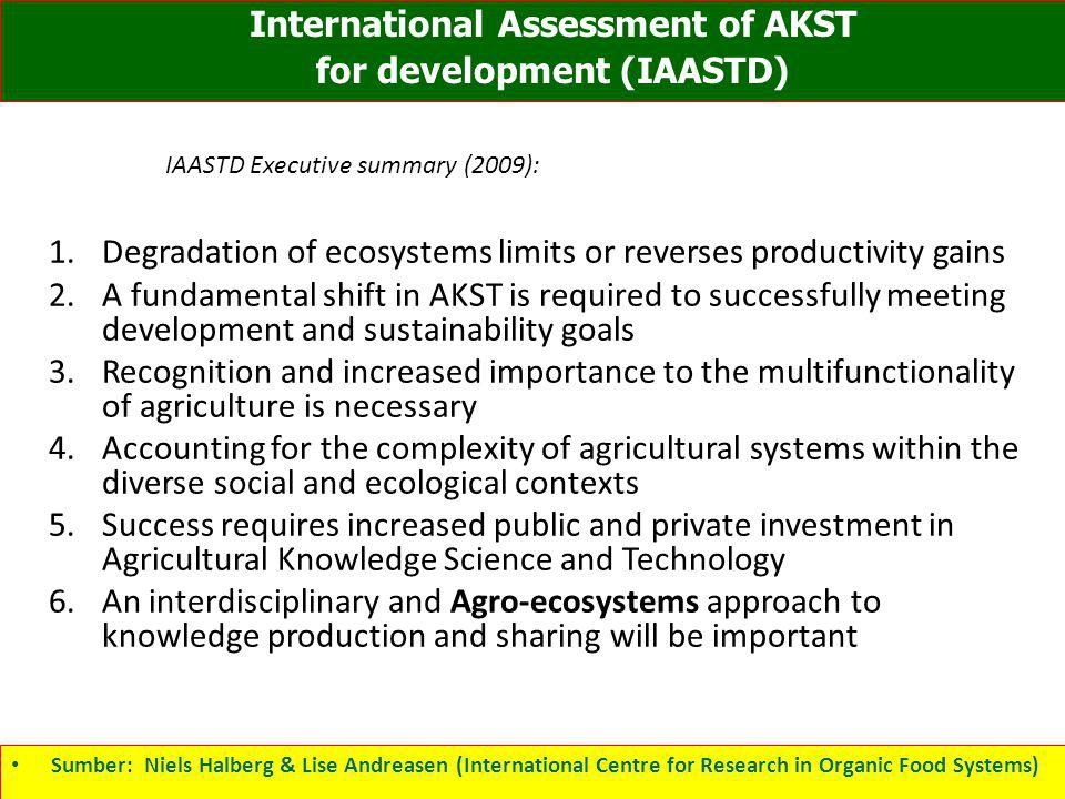 IAASTD Executive summary (2009):