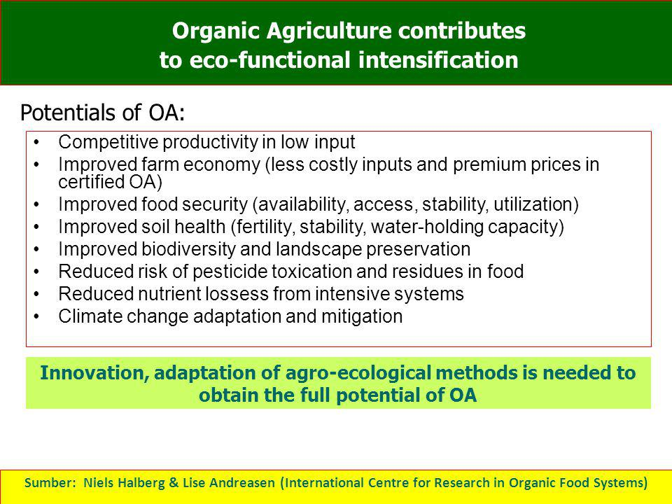 Organic Agriculture contributes to eco-functional intensification