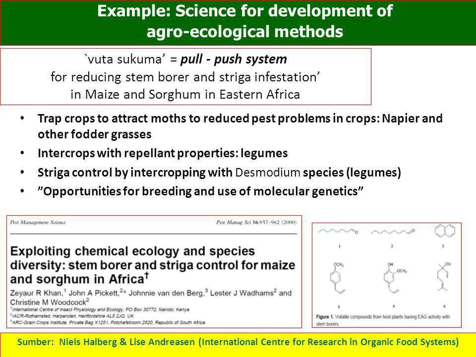Example: Science for development of agro-ecological methods