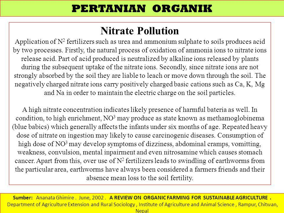PERTANIAN ORGANIK Nitrate Pollution