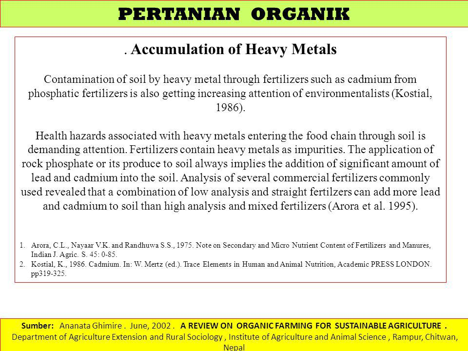 . Accumulation of Heavy Metals