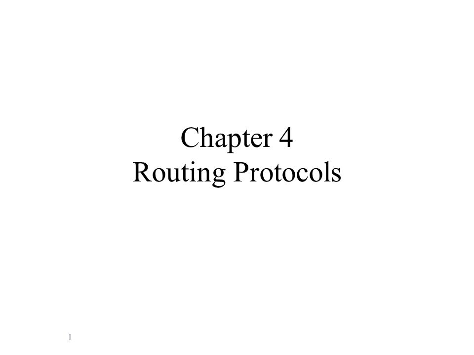 Chapter 4 Routing Protocols