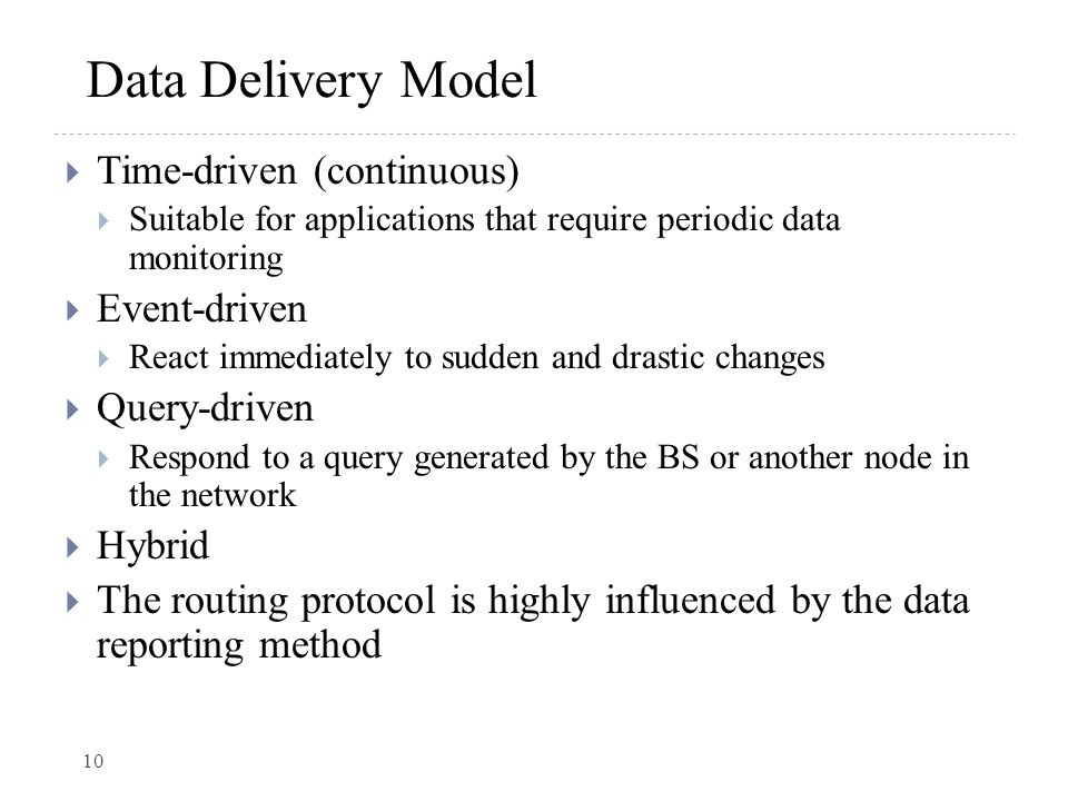 Data Delivery Model Time-driven (continuous) Event-driven Query-driven