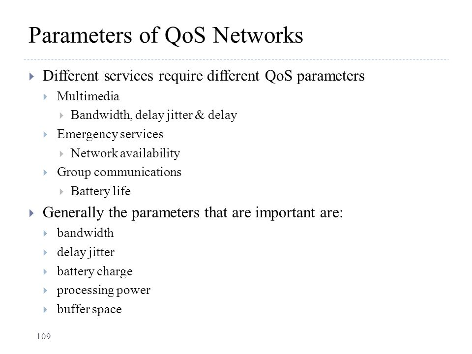 Parameters of QoS Networks