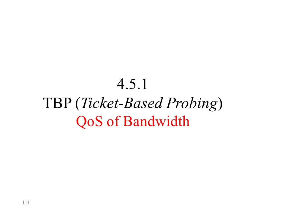 4.5.1 TBP (Ticket-Based Probing) QoS of Bandwidth