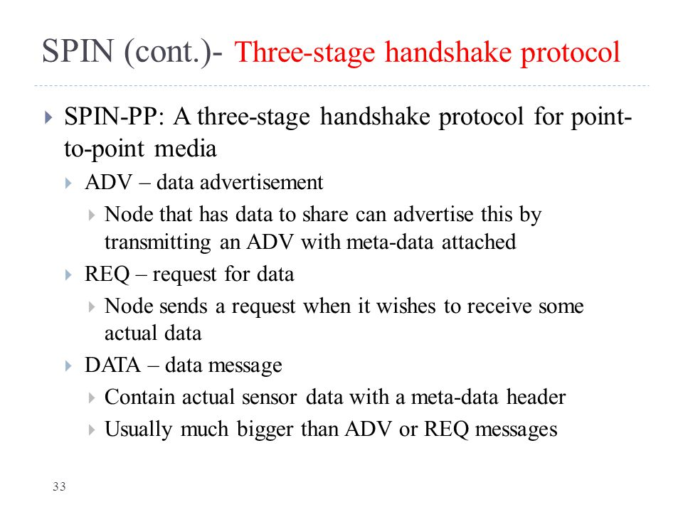 SPIN (cont.)- Three-stage handshake protocol