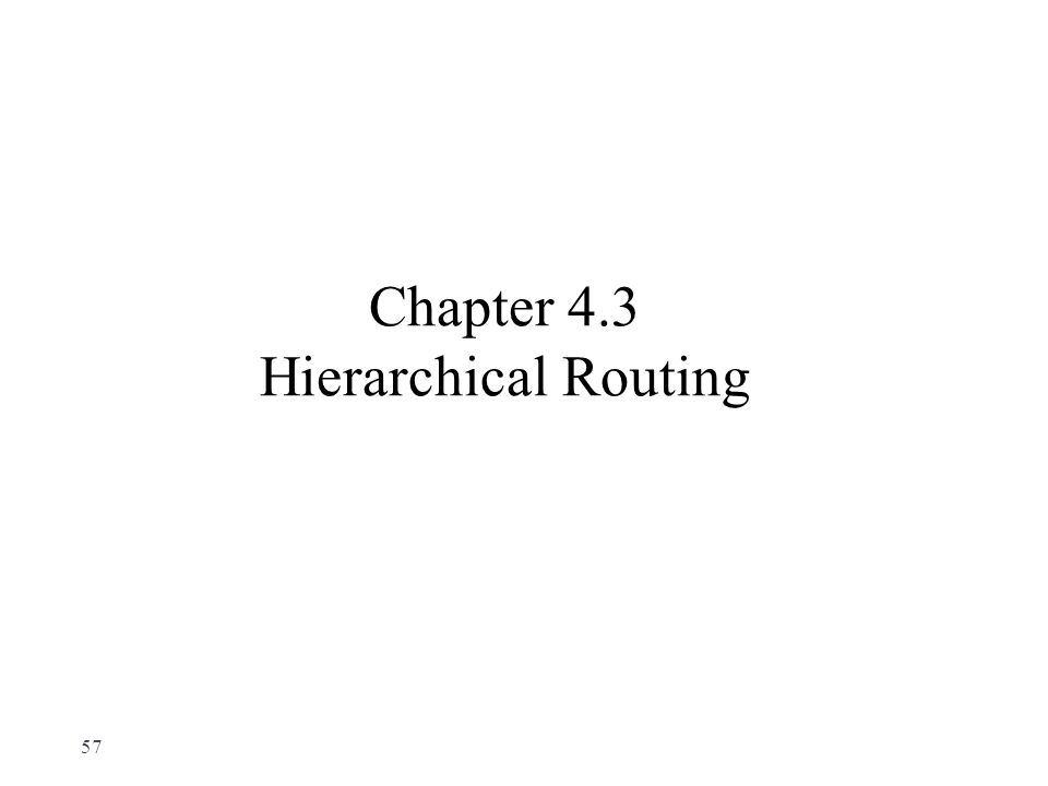 Chapter 4.3 Hierarchical Routing