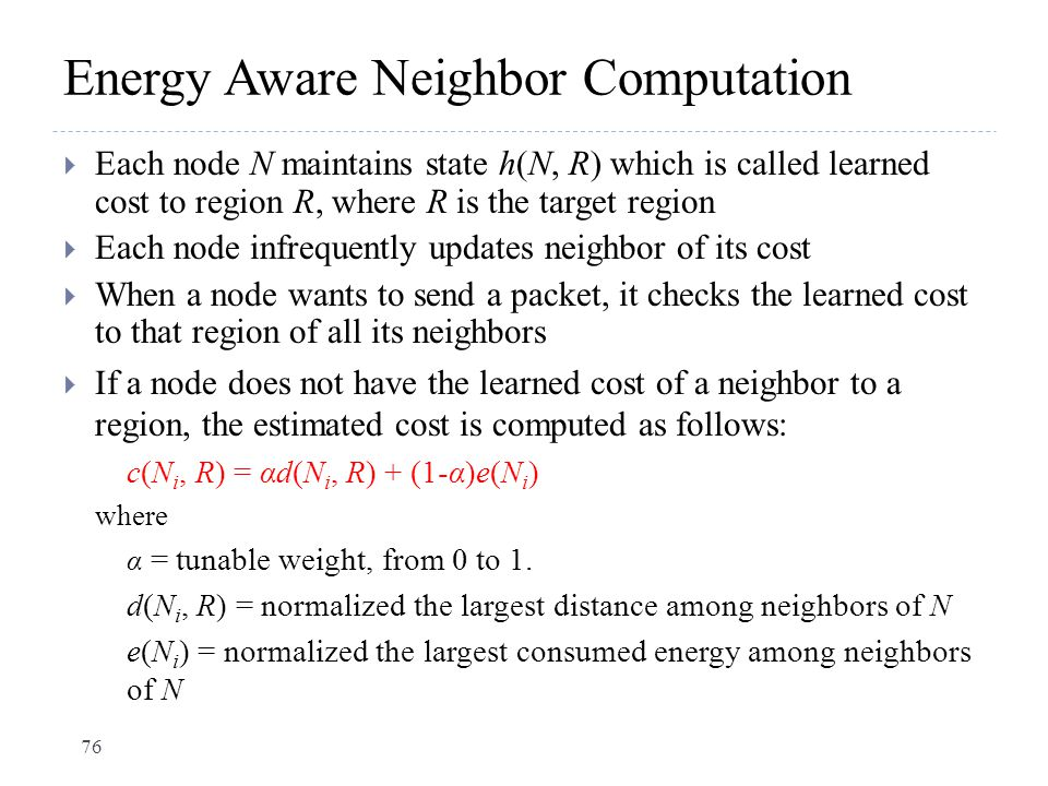 Energy Aware Neighbor Computation