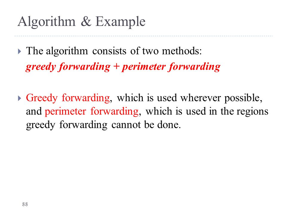 Algorithm & Example The algorithm consists of two methods: