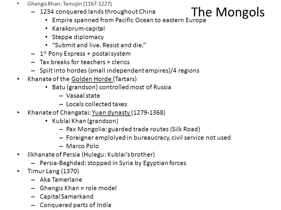 The Mongols 1234 conquered lands throughout China