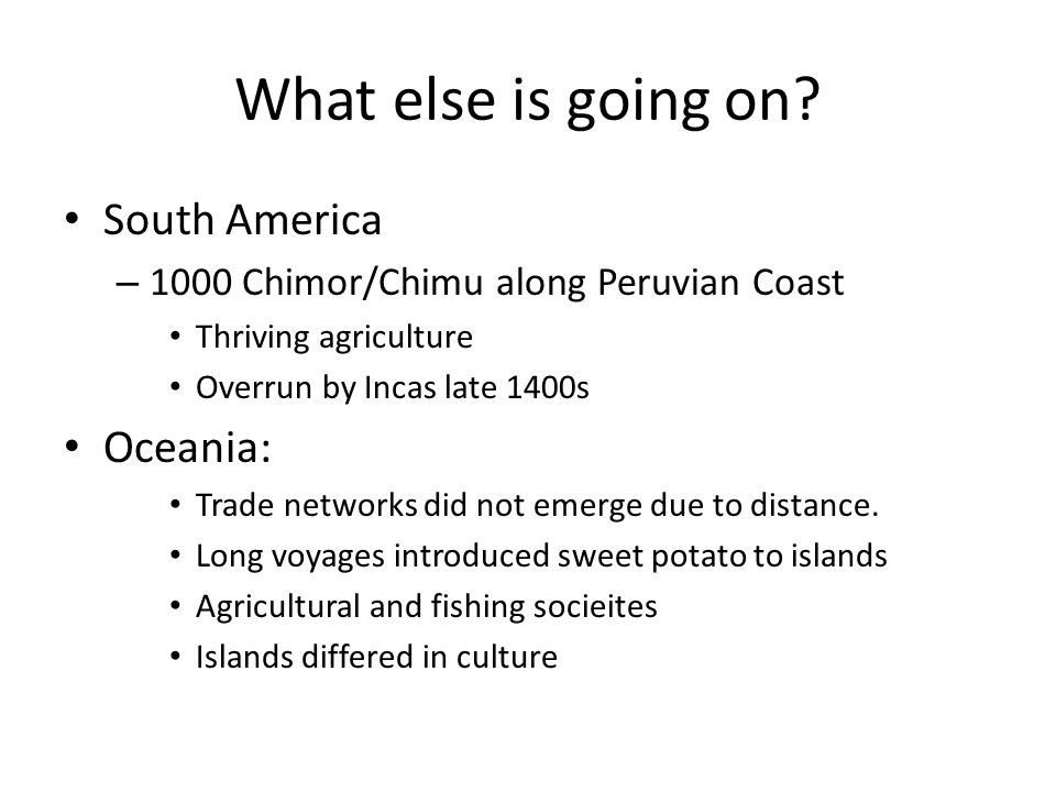 What else is going on South America Oceania: