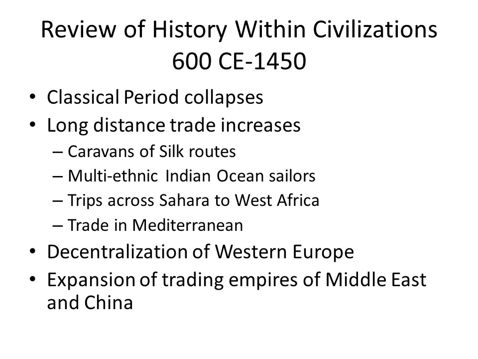 Review of History Within Civilizations 600 CE-1450