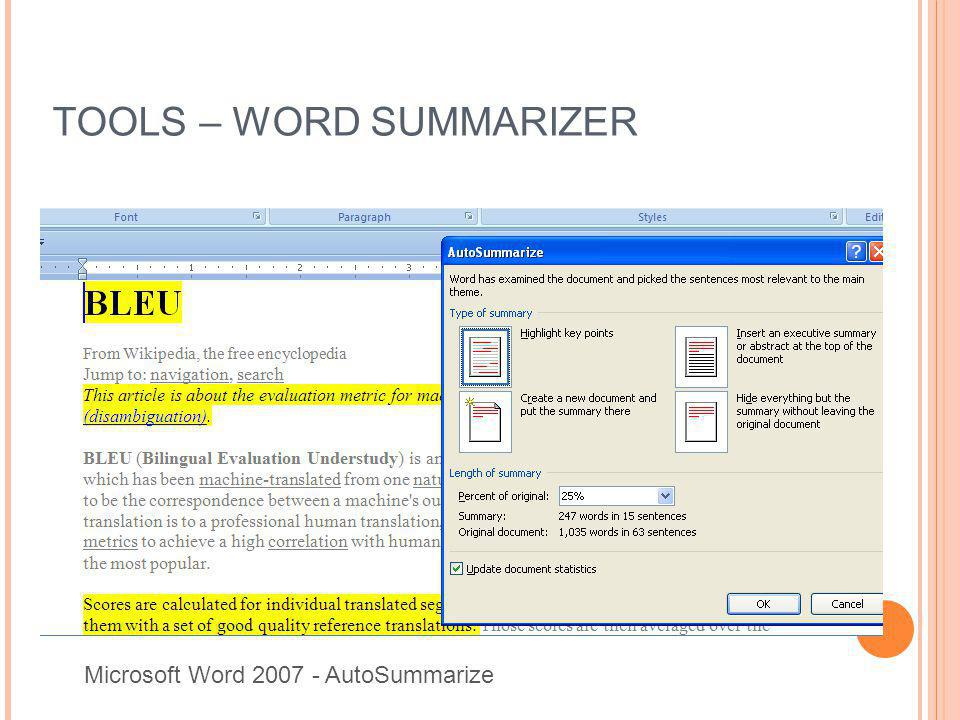TOOLS – WORD SUMMARIZER