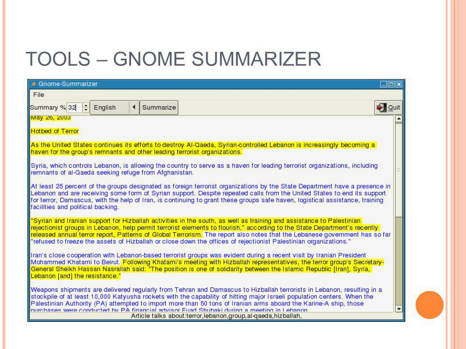 TOOLS – GNOME SUMMARIZER