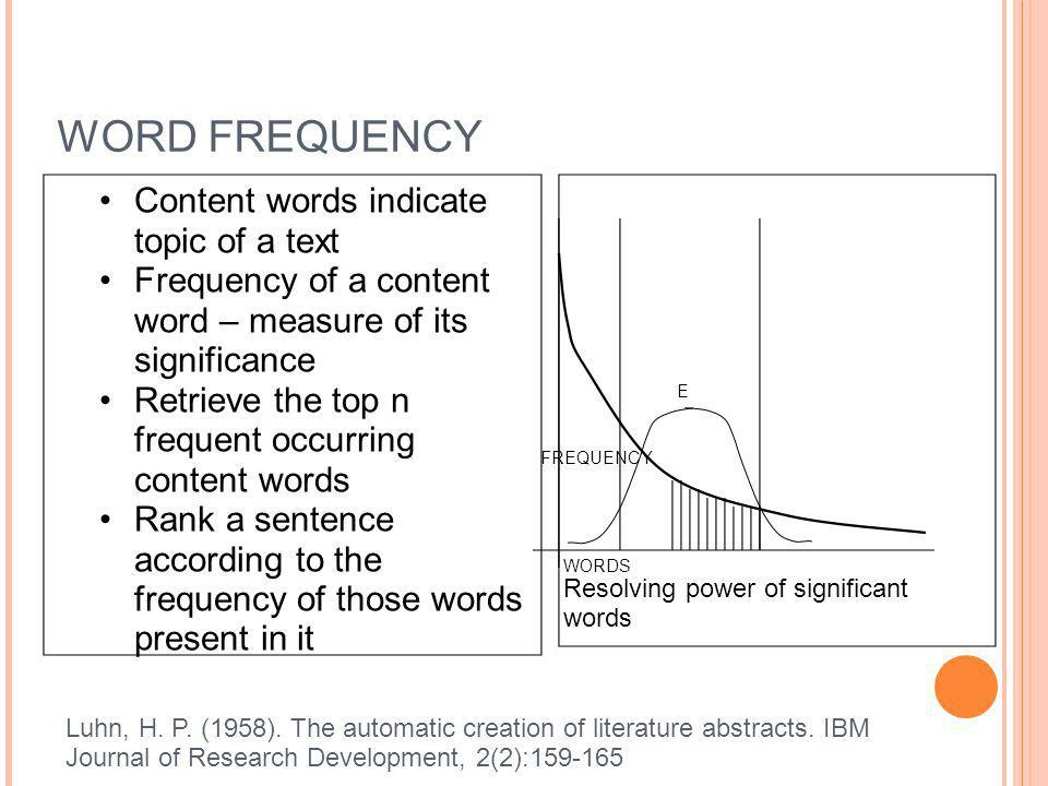 WORD FREQUENCY Content words indicate topic of a text