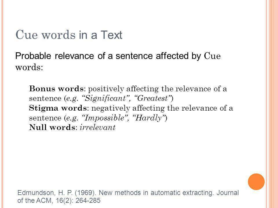 Cue words in a Text Probable relevance of a sentence affected by Cue words: