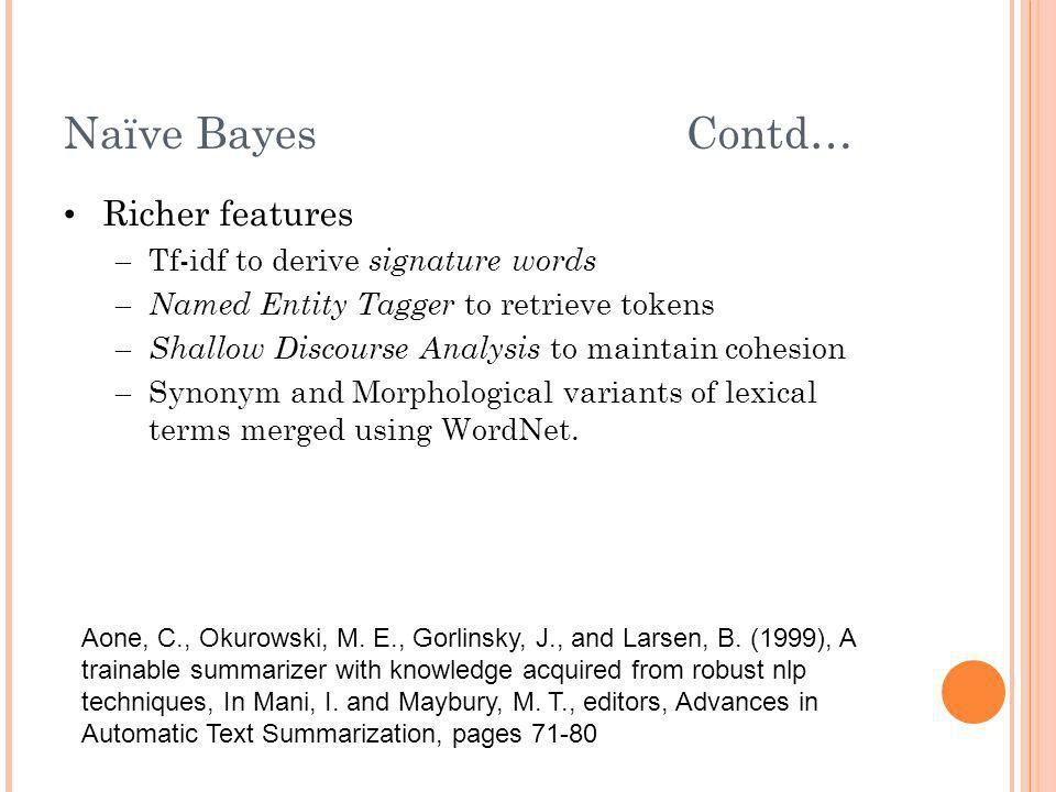 Naïve Bayes Contd… Richer features Tf-idf to derive signature words