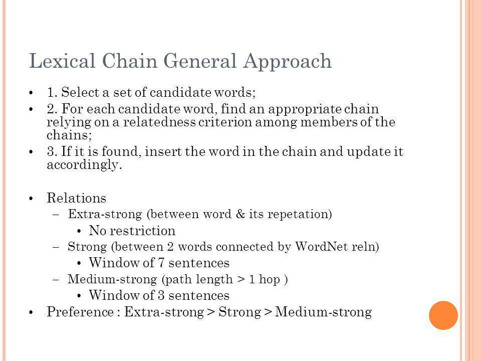 Lexical Chain General Approach