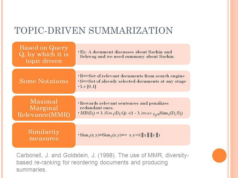 TOPIC-DRIVEN SUMMARIZATION