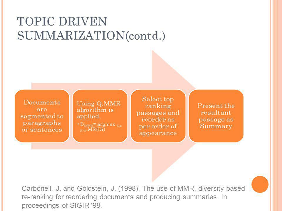 TOPIC DRIVEN SUMMARIZATION(contd.)