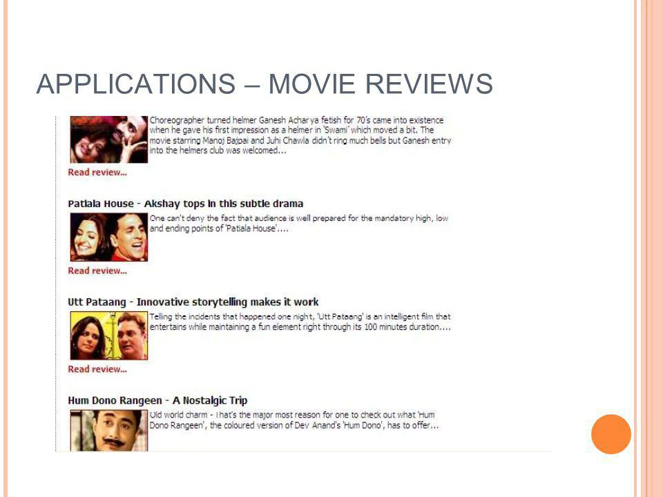 APPLICATIONS – MOVIE REVIEWS