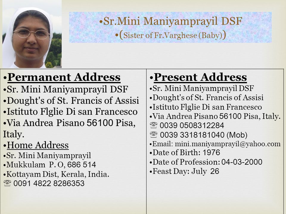 (Sister of Fr.Varghese (Baby))