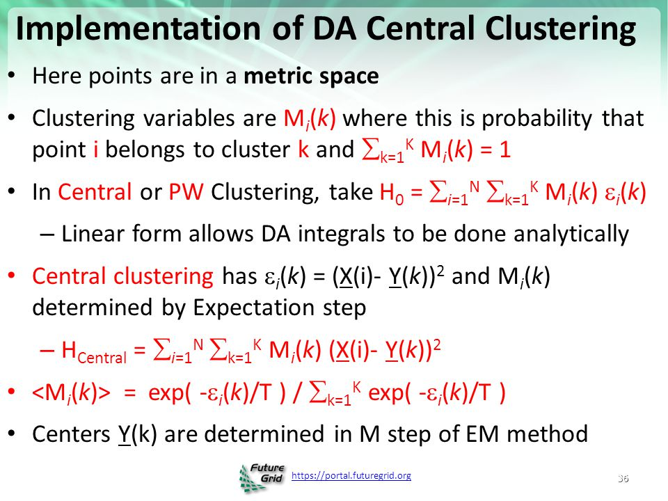 Implementation of DA Central Clustering