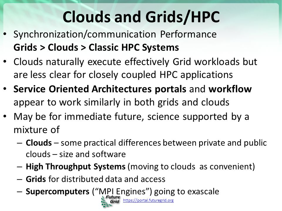 Clouds and Grids/HPC Synchronization/communication Performance Grids > Clouds > Classic HPC Systems.